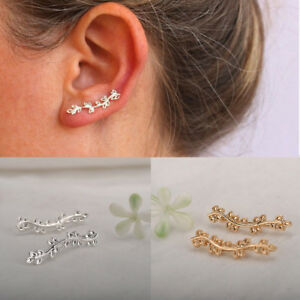 Women-Stud-Earrings-Ear-Crawler-Cuff-Earrings-Leaves-Ear-Climber-Fashion-Jewelry