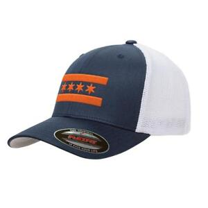 Details about Navy Chicago Bears Flag Mesh Snapback Premium Yupoong Adult Retro  Trucker Cap Ha 02e6aeed633