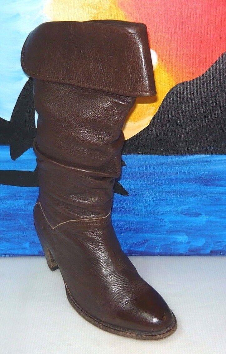 FRYE Black Leather Riding Boots F955 Genuine Goodyear Welt Women's 10M