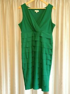 CAPTURE-Emerald-Green-Tiered-Ruffle-Bodycon-Dress-Womens-size-14