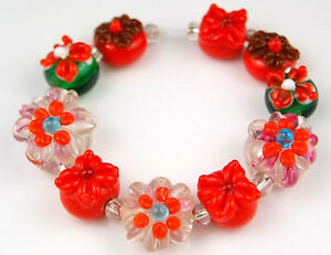 HANDMADE-LAMPWORK-GLASS-BEADS-Tangerine-Orange-Flower-Loose-Jewelry-Making-Craft