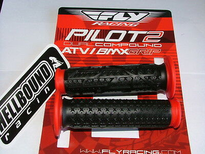 NEW ODI Rouge lock grips Yamaha Warrior 350 YFM350 Black with red clamps 130mm
