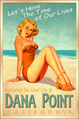 DANA POINT California Surf Sand Poster Pacific Ocean Beach Pin Up Art Print 241