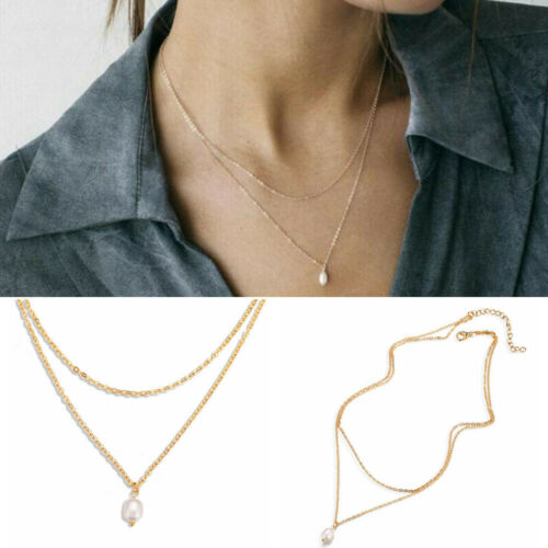 Simple Women Multilayer Gold Chain Pearl Pendant Necklace Statement Jewelry