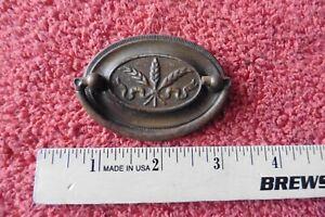 1 Vintage Dresser Drawer Pull Wheat handle Oval Antique Metal Tin Brass color