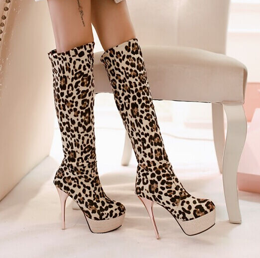 Boots until thigh winter animal plateau woman heel pin 18 cm 972