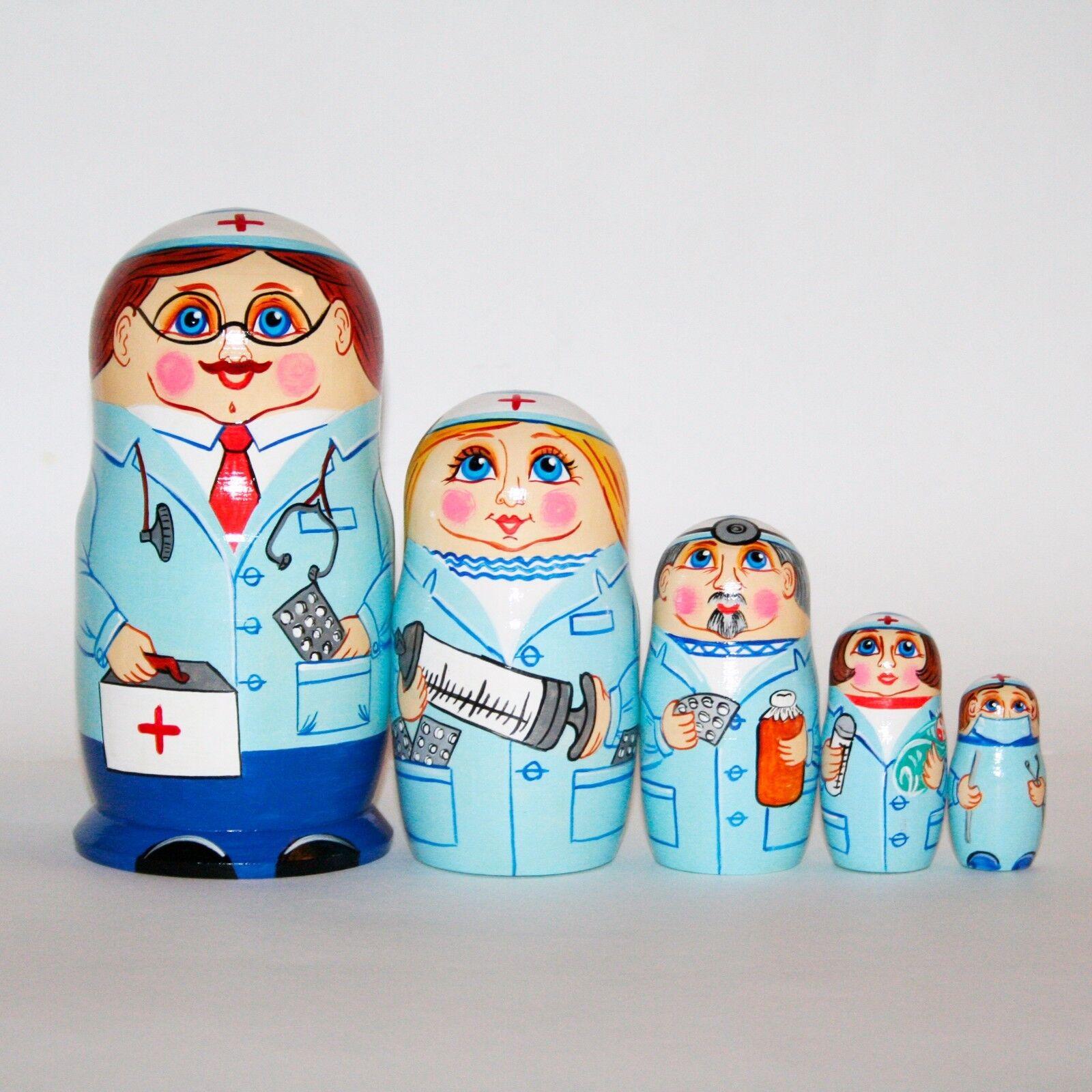 Nesting dolls Doctors matryoshka Hand-painted Signed 7  18cm russian babushka