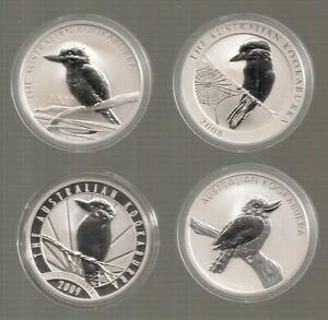 Australien je 1 Unze Silber Kookaburra 2007, 2008, 2009 und 2010