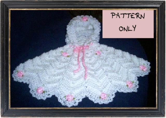 Crochet Pattern Poncho For Preemie Premature Baby Or Doll EBay Simple Preemie Crochet Patterns