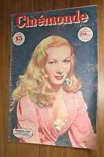 VERONICA LAKE CINEMONDE 1947 VINTAGE FRENCH MAGAZINE