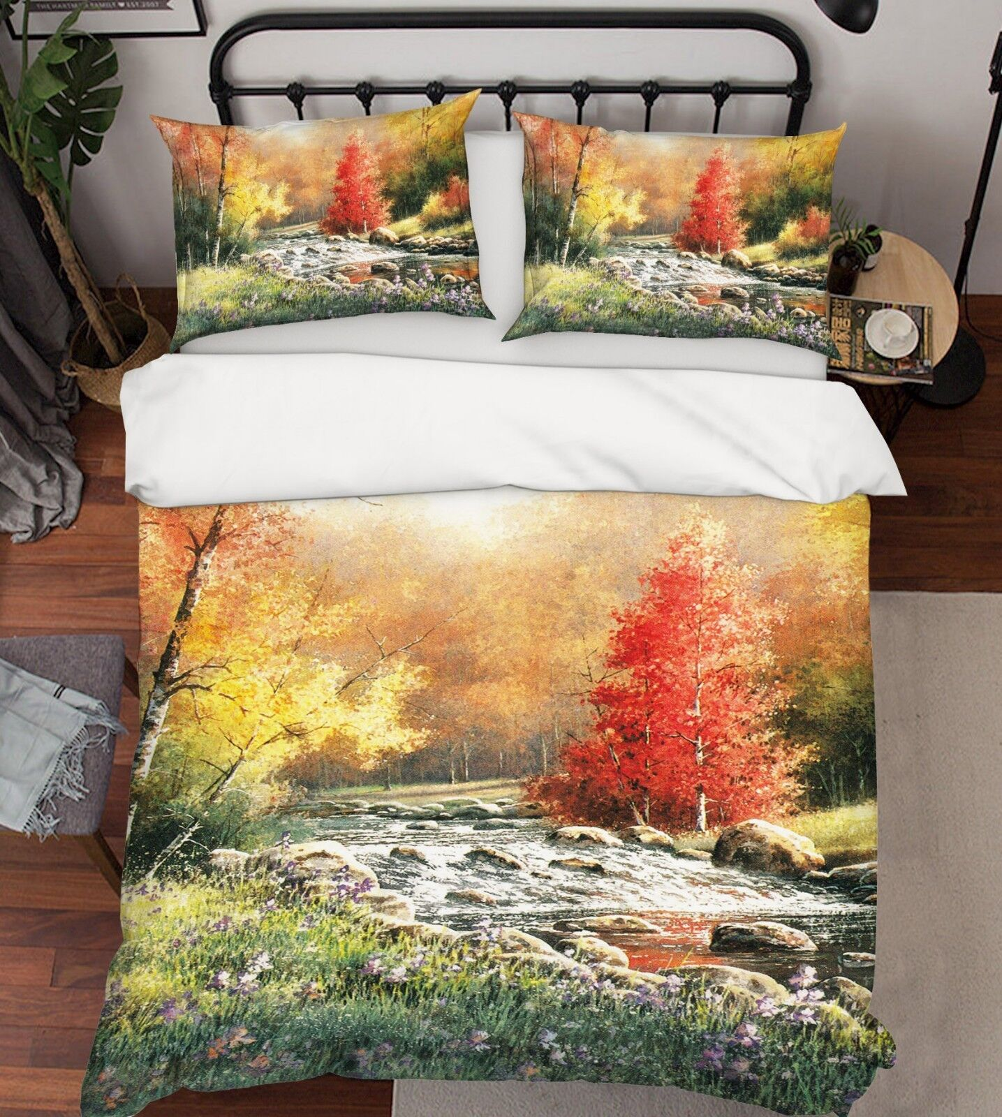 3d Forest Stones River 5 bett Cushion abdeckungs Stitch Duvet abdeckung Set Single DE