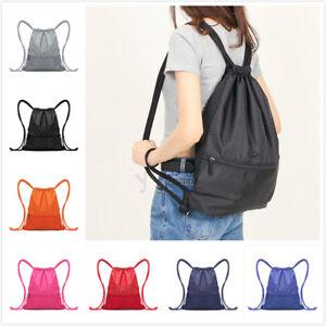 10a92d152011 Image is loading Travel-Waterproof-Drawstring-Gym-Bag-Sack-Nylon-Backpack-
