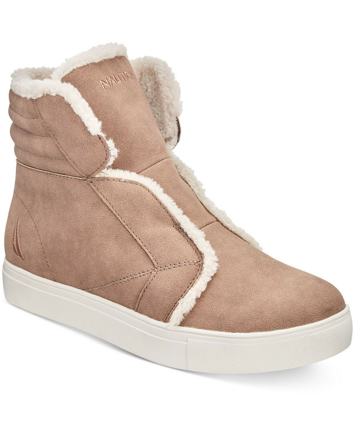 Nautica Kellen High Top Sneakers Fall Winter Warm Booties, Camel Tan Beige 9