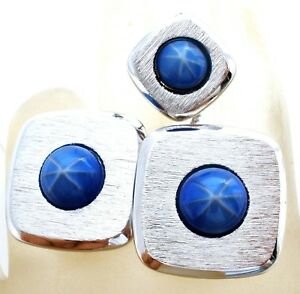 Sarah-Coventry-Cufflinks-amp-Tie-Tack-Faux-Star-Sapphires-Mens-Cuff-Links-Vintage