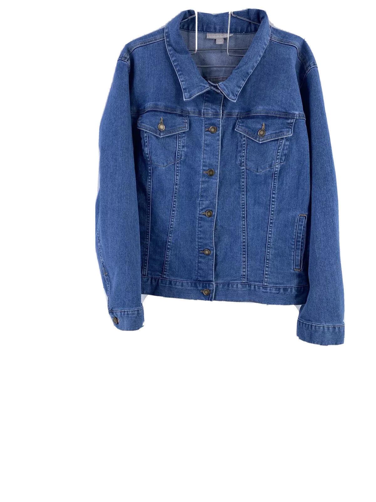 Woman Within 22W Plus Jacket Denim Med Blue Buttondown Front Long SleeveA1