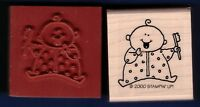 Baby Tooth Brush Happy Shower Gift Tag Stampin' Up 2000 Wood Rubber Stamp