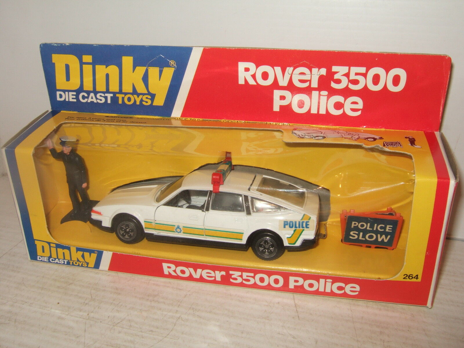 Vintage rare dinky toys 264 ROVER 3500 POLICE VOITURE  & police figure & signalisation routière  gros pas cher