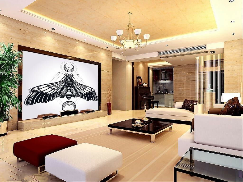 3D Moon And Bat 53 Wall Paper Wall Print Decal Wall Deco Indoor Mural Lemon