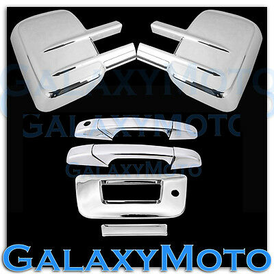 07-13 Chevy Silverado Chrome Mirror+2 Door Handle+Tailgate w KH no CM+Gas Cover