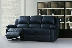 Stupendous Details About New Luxury Designer Miami Leather 3 Seater Recliner Sofa Black Download Free Architecture Designs Sospemadebymaigaardcom