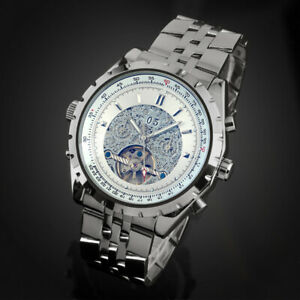Mens-Watch-Automatic-White-Dial-Stainless-Steel-Strap-Self-winding-Gloss-Luxury