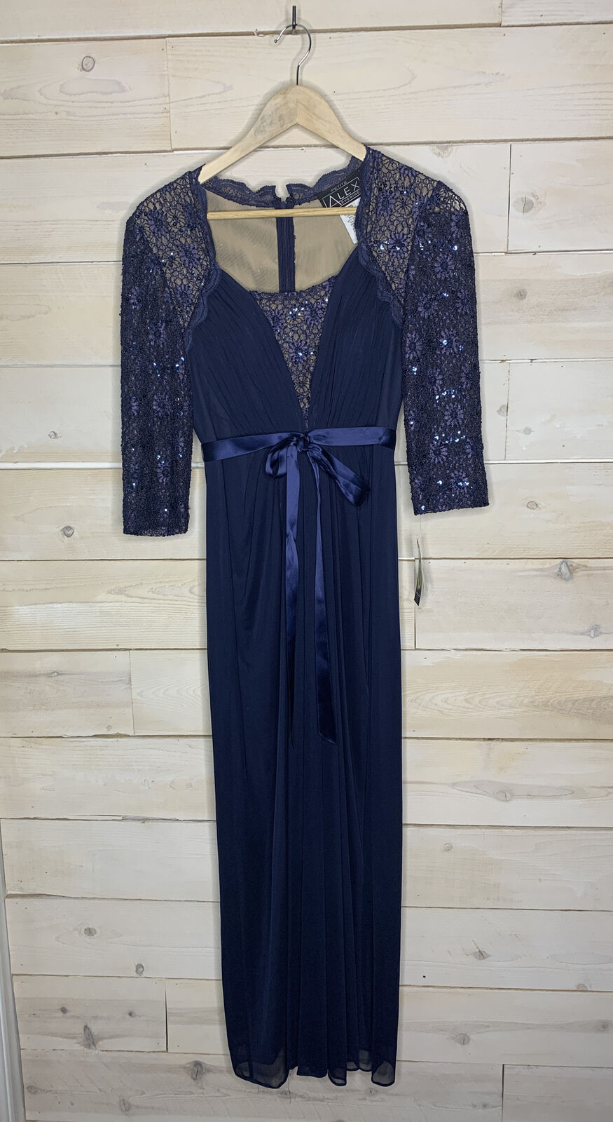 NWT Alex Evenings Navy 3/4 Sleeve Gown Dress Mother Of The Bride Sz 6P