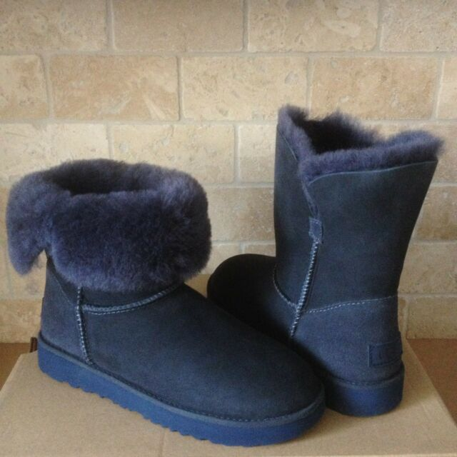 bda04dac04a UGG Classic Cuff Short Imperial Blue Suede Sheepskin Boots Size US 7 Womens  NEW