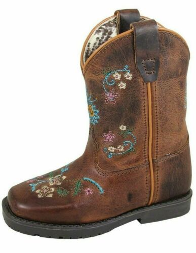 Smoky Mountain Toddler Western Boots Girls Floralie Pull On Brown 3833T