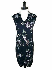 RENEEC. Plus Sz 2X Shift Dress Blue Purple Green Floral Sleeveless Knee Length