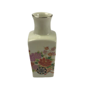 "Vintage Japanese Miniature Square Bud Vase Porcelain Hand Painted Flower Cart 3"""