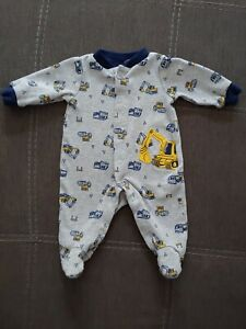 Child Of Mine Newborn Boy Long Sleeve Button Up Footed ...
