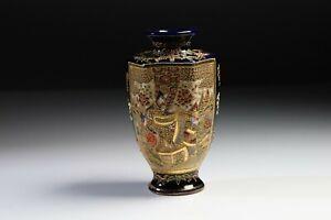 Antique-Japanese-Blue-Ground-Satuma-Miniature-Vase-Signed