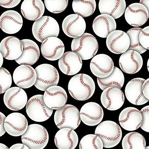 Sports-Packed-Baseballs-Black-white-Red-Premium-100-Cotton-Fabric-by-the-yard
