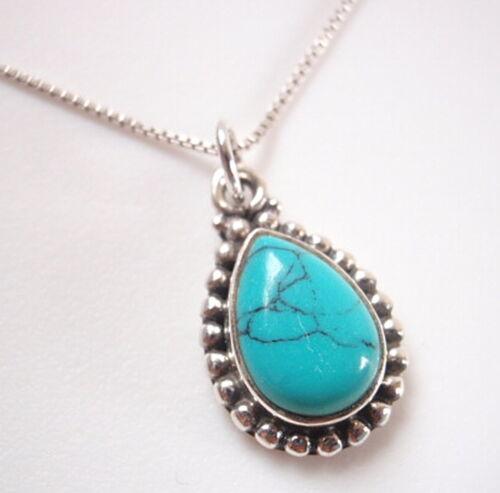 Petite Turquoise Teardrop en Argent Dot Accents 925 Argent Sterling Collier
