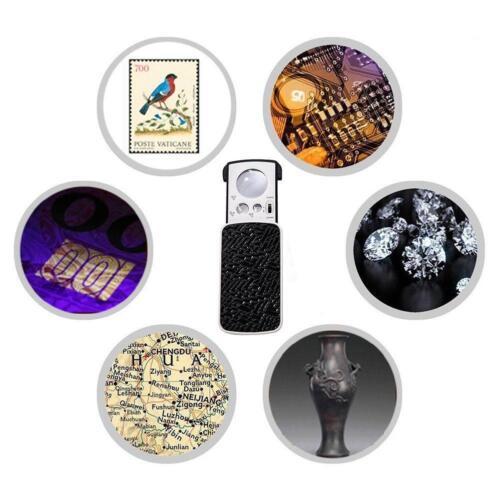 Tragbare Slide Out Lupen-UV Schwarzlicht Pocket LED Lupe 30X 60X 90X P2A7