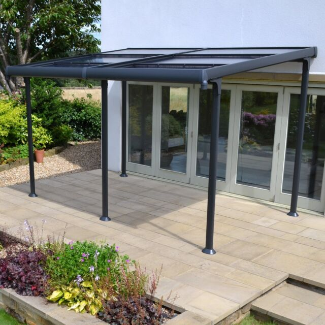 Aluminium 4m X 3m Wall Gazebo With Retractable Roof.