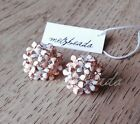 Vintage Enamel Rose Gold Flower Earrings - Light Pink and White with Rhinestones