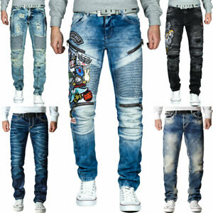 Cipo-amp-Baxx-Uomo-Jeans-Pantaloni-ricamate-Biker-Style-streetwear-nervature-pattern-Dope
