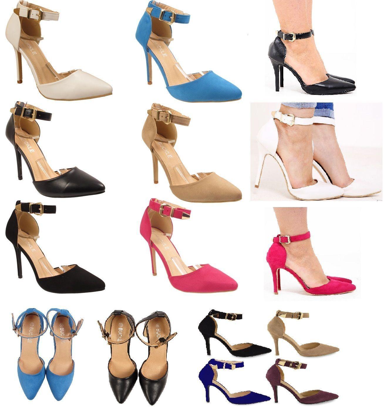 Damenschuhe LADIES HIGH HEEL POINTY TOE STILETTO SANDALS ANKLE STRAP COURT Schuhe 3-8