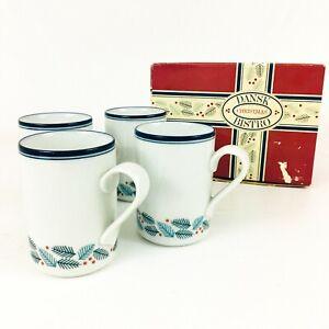 Dansk-Bistro-Coffee-Mug-Cups-Christmas-Pine-Branches-Pattern-Set-of-4