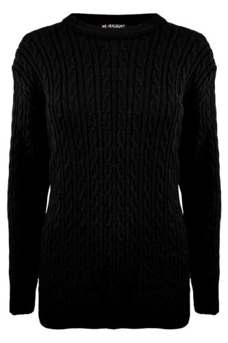 New Womens Aztec Cable Knitted Ladies Long Sleeve Ribbed Oversized Baggy Jumper