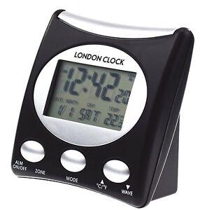 radio controlled london clock co lcd digital alarm clock day date temperature ebay. Black Bedroom Furniture Sets. Home Design Ideas
