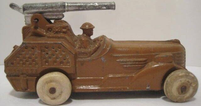 Ancien rare grand gadoue métal BARCLAY  militaire armée canon voiture avec Anti Aircraft Gun  sortie d'exportation