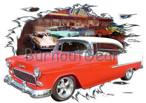 Chevy Mesure shirt T H Sur Rod Bel Car T shirt C Air T Muscle 1955 Hot 55 rouge WdxorCBe