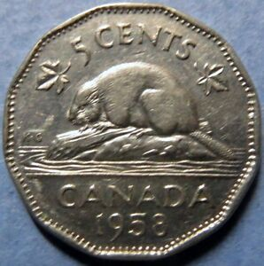 1958-Vintage-CANADA-5-CENTS-COIN-Very-Fine-Circulated-QUEEN-ELIZABETH-COIN