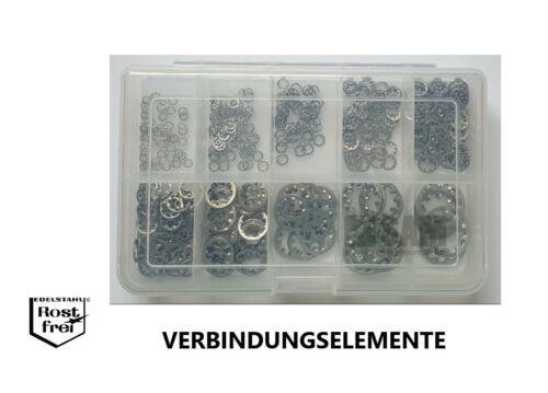 Zahnscheiben Sortiment//Set DIN 6797 Form J 350 Teile EDELSTAHL V2A A2 2,2-15,0