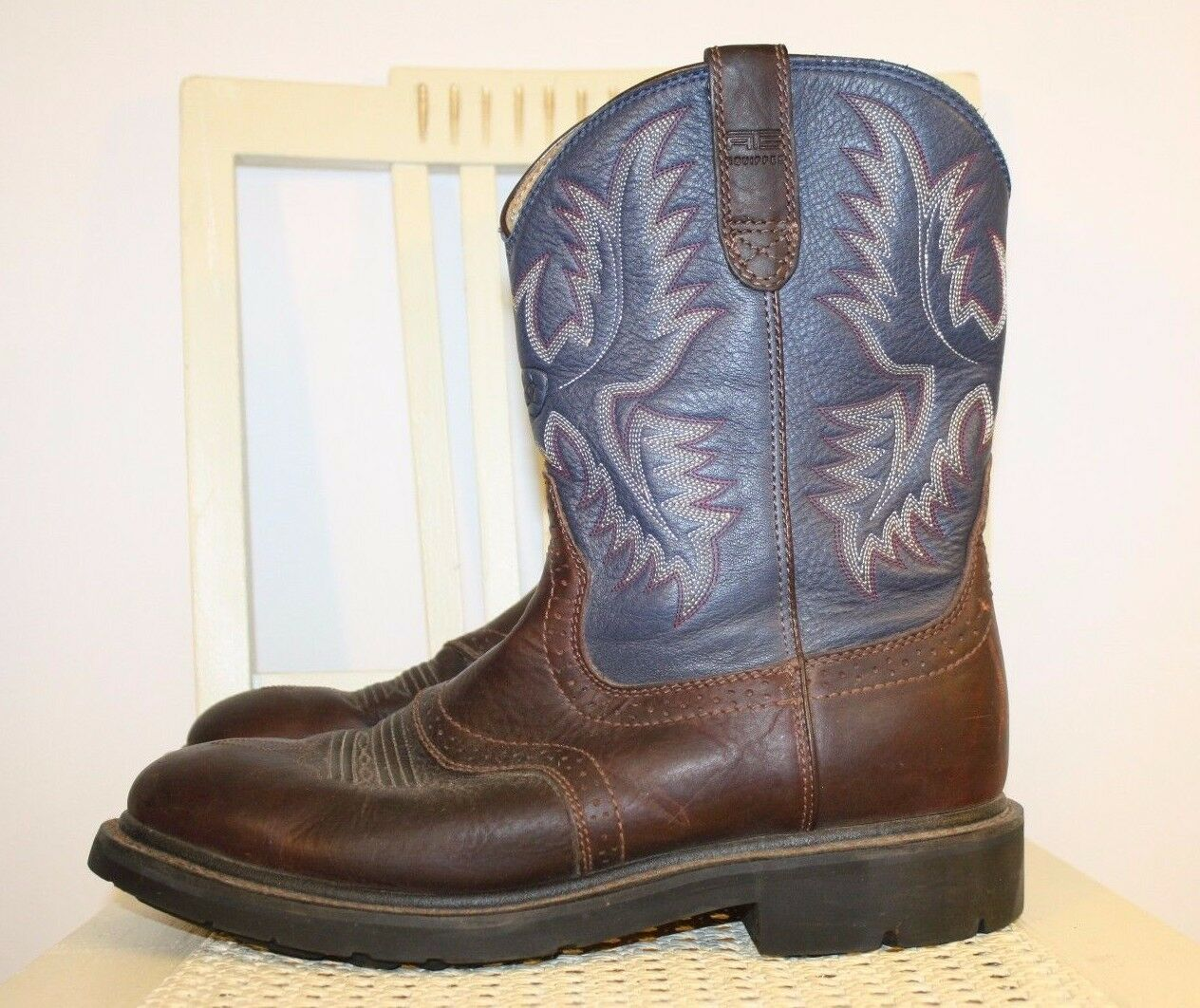 ARIAT Navy bluee Brown Leather Western Cowboy Boots Non-Marking Comfort Sz 10.5 D