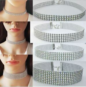 10mm-16mm-or-25mm-Silver-tone-Choker-Necklace-Rhinestone-Crystal-Burlesque