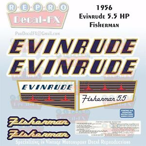 1956 Evinrude 5.5 HP Fisherman Outboard Reproduction 8 Pc Marine Vinyl Decals