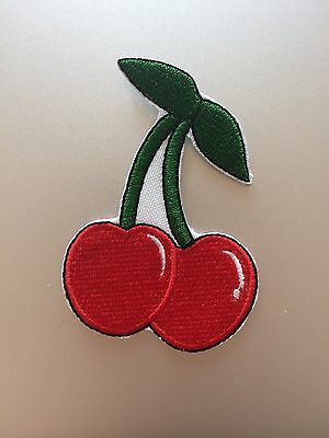 SWEET CHERRIES Embroidered  Iron On Sew On Patch Tattoo Rockabilly Kitch